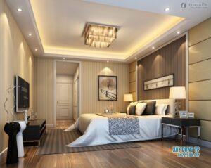 Trần thạch cao phòng ngủ được bố trí hợp lý từ ánh đèn